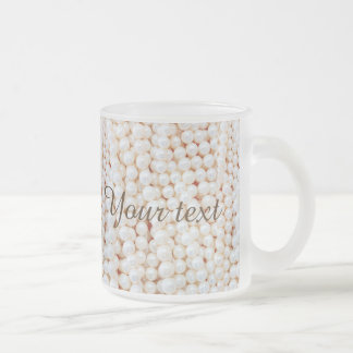 Faux,white,pearls,chic,elegant,girly,pattern,style Frosted Glass Mug