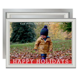 Faux White Pine Wood Elegant Photo Template Card