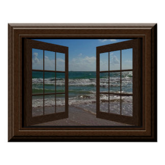 Faux Window Aquamarine Waves Ocean Scene Tranquil Poster