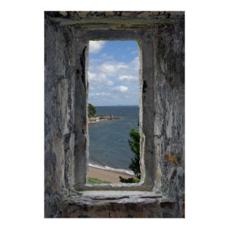 Faux Window - Castle Looking out on Beach View Poster
