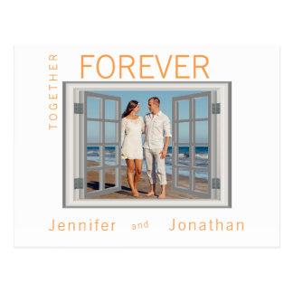 Faux Window Frame Shutters White Wedding Special Postcard