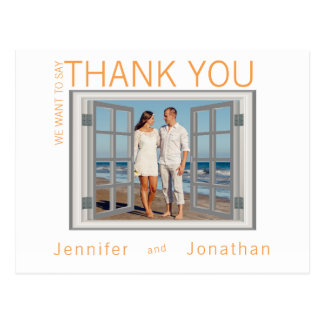 Faux Window Frame Shutters White Wedding Thanks Postcard