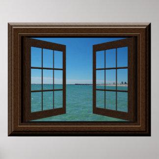 Faux Window Poster Aquamarine Ocean Scene Tranquil