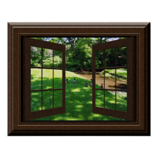 Faux Window Poster Peaceful Green Grass Ducks