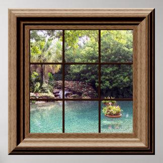 Faux Window Poster Peaceful Water Garden Zen Print