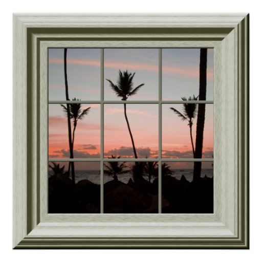 Faux Window Poster Tropical Sunset Relaxing Print
