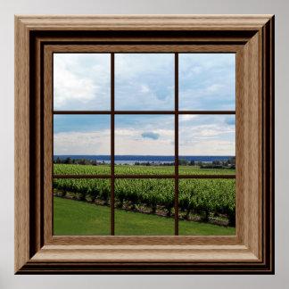 Faux Window Poster Vineyard Scene Wall Art Poster