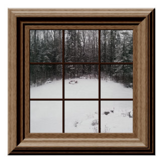 Faux Window Poster Winter Snow Scene With Trees