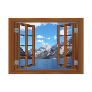 Faux Window Rocky Mountain Peaceful Lake Stretched Canvas Prints