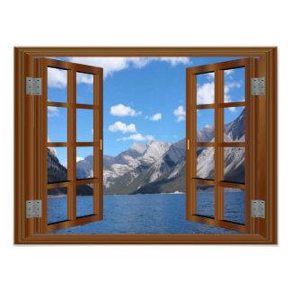 Faux Window Rocky Mountain Peaceful Lake Photo Print