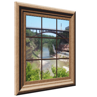 Faux Window Scene Relaxing River Canvas Wall Art Stretched Canvas Print
