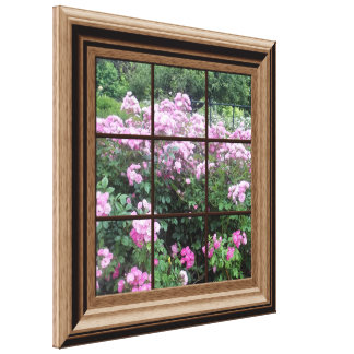 Faux Window Scene Rose Garden Canvas Wall Art Stretched Canvas Prints