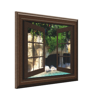 Faux Window Scene Water Cave Peaceful Relaxing Gallery Wrap Canvas