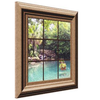 Faux Window Scene Zen Water Garden Peaceful Canvas Print