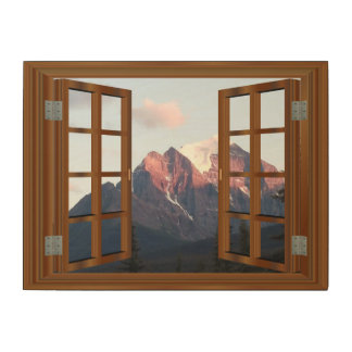 Faux Window Snow Top Mountain View Wood Canvases
