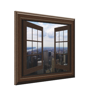 Faux Window View Empire State Building NYC Canvas Canvas Prints