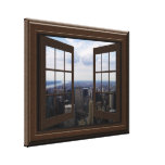 Faux Window View Empire State Building NYC Canvas Stretched Canvas Prints