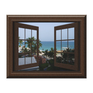 Faux Window View Peaceful Ocean Scene Tropical Gallery Wrapped Canvas