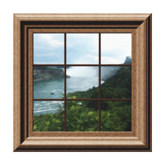 Faux Window View Peaceful Waterfall Niagara Falls Gallery Wrapped Canvas