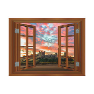 Faux Window View Scotland Castle Sunset Gallery Wrapped Canvas