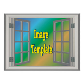 Faux Window White Create Your Own Photo Template Poster