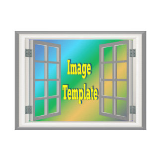 Faux Window White Gray Create Your Own Stretched Canvas Prints