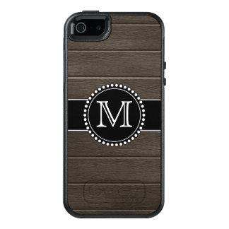 Faux Wood Black, Monogrammed OtterBox iPhone 5/5s/SE Case