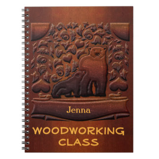Faux Wood Carving Brown Bears Monogrammed Notebook