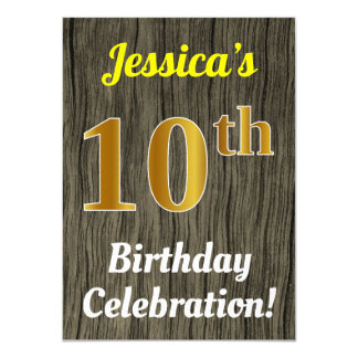 Faux Wood, Faux Gold 10th Birthday Celebration Card