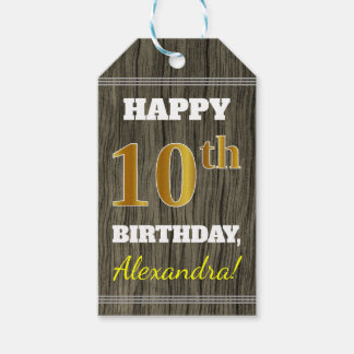 Faux Wood, Faux Gold 10th Birthday + Custom Name Gift Tags