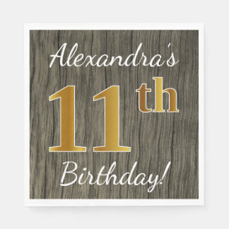 Faux Wood, Faux Gold 11th Birthday + Custom Name Paper Napkins