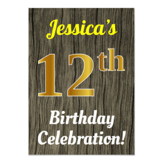 Faux Wood, Faux Gold 12th Birthday Celebration Card