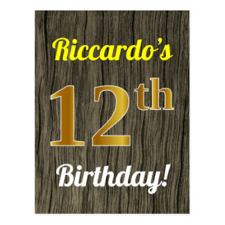 Faux Wood, Faux Gold 12th Birthday & Custom Name Postcard