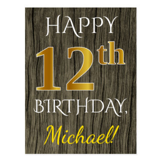 Faux Wood, Faux Gold 12th Birthday + Custom Name Postcard