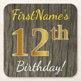 Faux Wood, Faux Gold 12th Birthday + Custom Name Square Paper Coaster