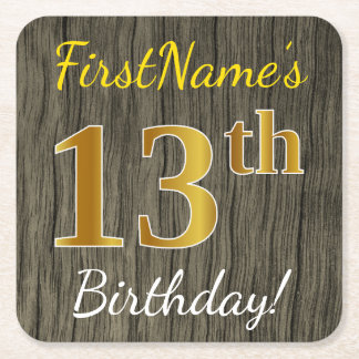 Faux Wood, Faux Gold 13th Birthday + Custom Name Square Paper Coaster