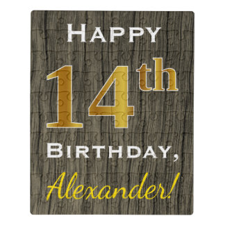 Faux Wood, Faux Gold 14th Birthday + Custom Name Jigsaw Puzzle