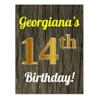 Faux Wood, Faux Gold 14th Birthday & Custom Name Postcard