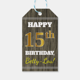 Faux Wood, Faux Gold 15th Birthday + Custom Name Gift Tags