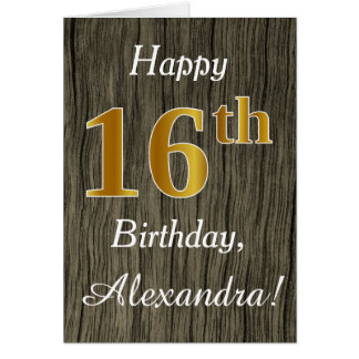 Faux Wood, Faux Gold 16th Birthday + Custom Name Card