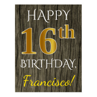 Faux Wood, Faux Gold 16th Birthday + Custom Name Postcard