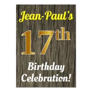 Faux Wood, Faux Gold 17th Birthday Celebration Card
