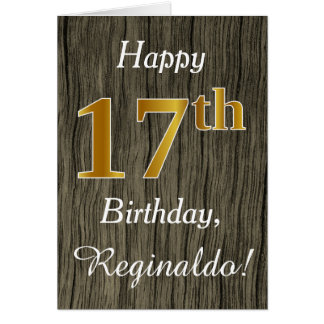 Faux Wood, Faux Gold 17th Birthday + Custom Name Card
