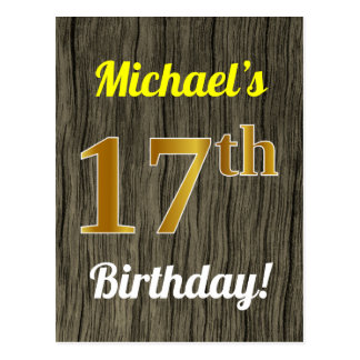 Faux Wood, Faux Gold 17th Birthday & Custom Name Postcard