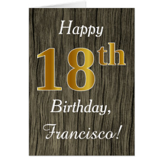 Faux Wood, Faux Gold 18th Birthday + Custom Name Card
