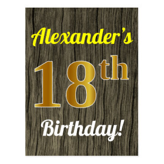 Faux Wood, Faux Gold 18th Birthday & Custom Name Postcard