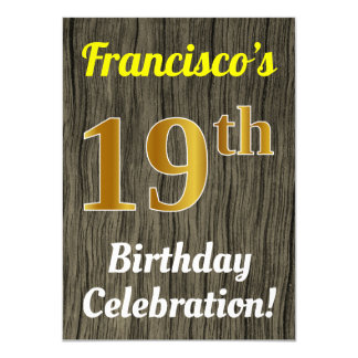 Faux Wood, Faux Gold 19th Birthday Celebration Card