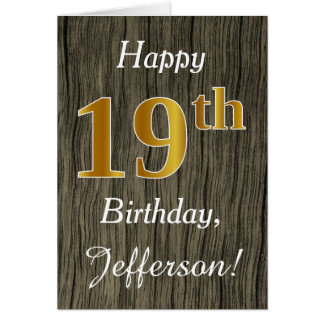 Faux Wood, Faux Gold 19th Birthday + Custom Name Card
