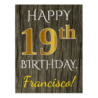 Faux Wood, Faux Gold 19th Birthday + Custom Name Postcard