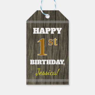 Faux Wood, Faux Gold 1st Birthday + Custom Name Gift Tags